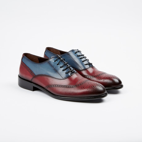 Medallion Brogue Oxford // Burgundy + Blue (US: 7)