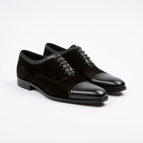 Suede Textured Cap-Toe Derby // Black (US: 7)