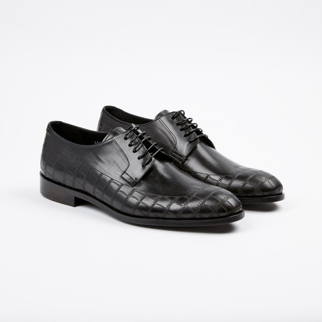 Croc Wing-Tip Derby // Black (US: 7)