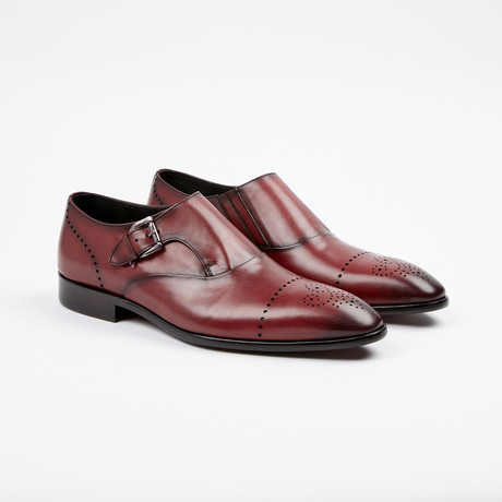 Medallion Toe Single Monkstrap // Burgundy