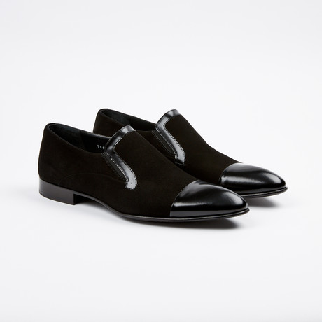 Suede Cap-Toe Loafer // Black (US: 7)