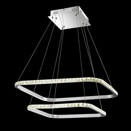 Floating Crystal LED Rectangle Chandelier // Double
