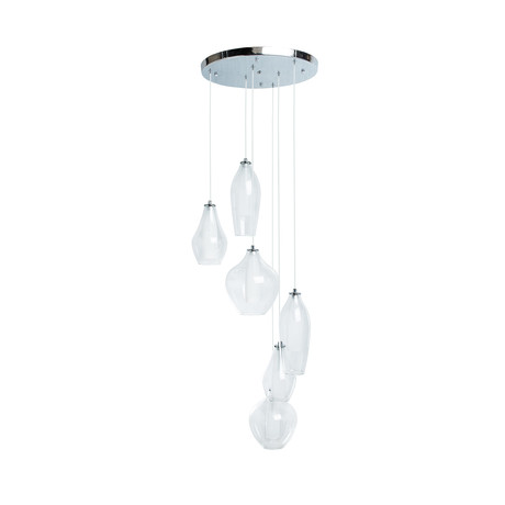 Dual Tone LED Glass Chandelier // 6 Light