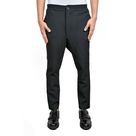 Angular Seam Drop Crotch Trousers // Black