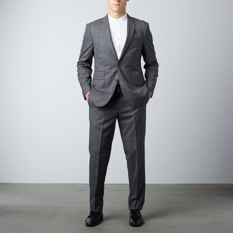 Bella Vita // Slim Fit Suit // Textured Charcoal Windowpane (US: 40R)