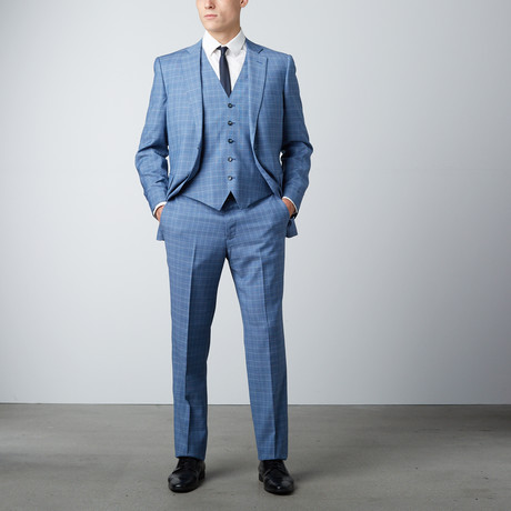 Via Roman // Half-Canvas 3-Piece Suit // Light Blue Prince of Wales Check