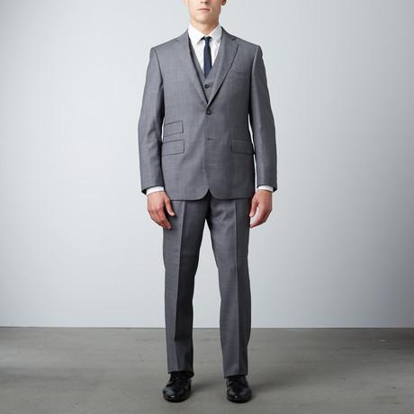 Via Roma // Half-Canvas 3-Piece Suit // Grey Windowpane (US: 38R)