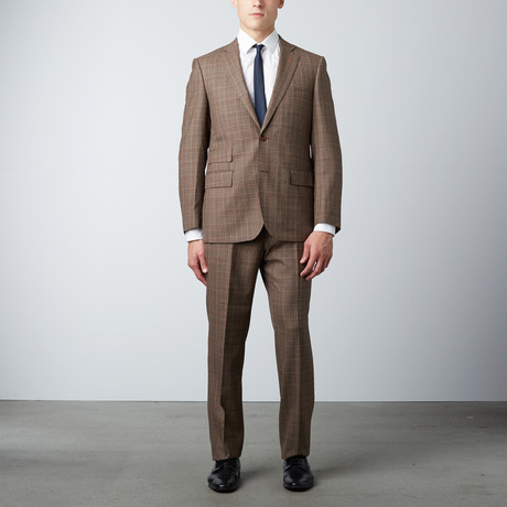Via Roma // Half-Canvas Suit // Brown Prince of Wales Check (US: 36S)