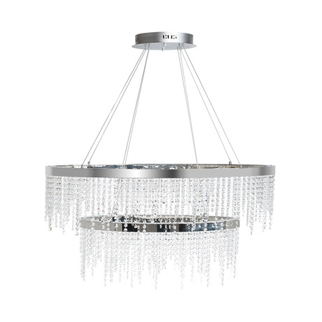 Crystal Roc Rectangle Chandelier // Double Tier