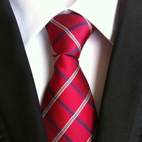 Hand Made Tie // Red + Blue Check