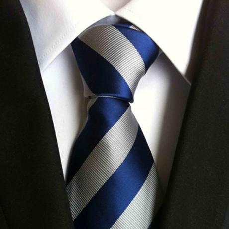 Hand Made Tie // Silver + Blue Stripe