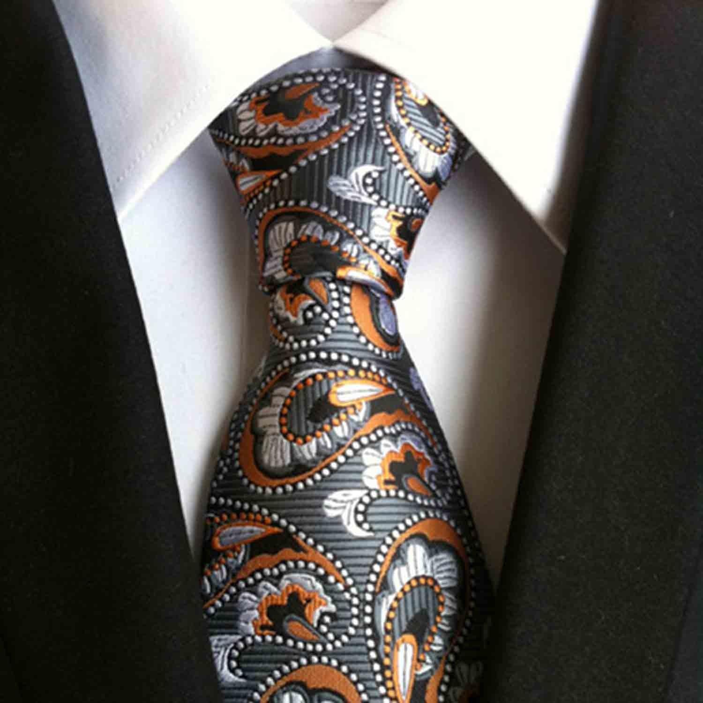 61c0781c01a6 359b231882301265bf52b6e60babf8ad medium. Hand Made Tie // Grey + Orange  Paisley