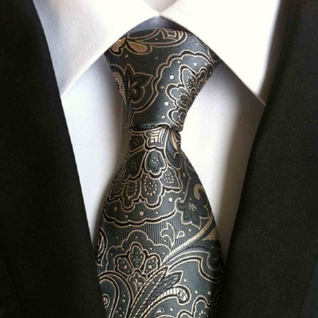 Hand Made Tie // Charcoal + Steel Blue Paisley