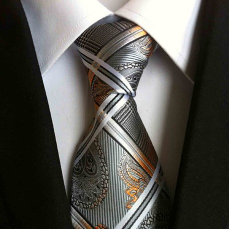 Hand Made Tie // Silver + Orange
