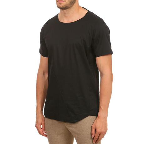 Asymmetrical Stitched Seam T-Shirt // Black