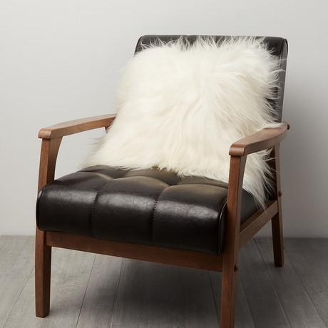 White Icelandic Sheepskin Pillow Cover