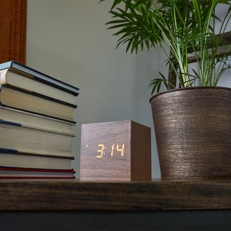 Block Clock // Walnut with Yellow LED