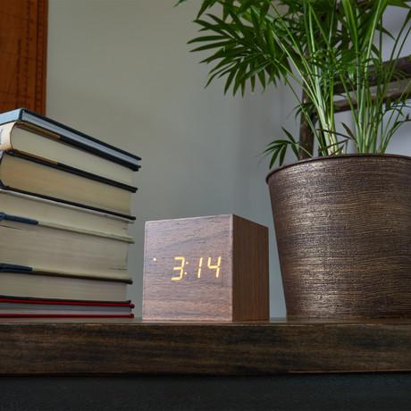 Block Clock // Walnut with White LED