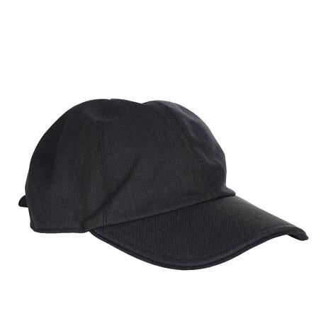 Textured Leather Trim Baseball Hat // Navy