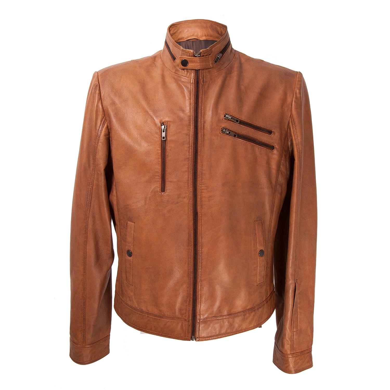 Zipper Pocket Leather Jacket // Tan (3XL)