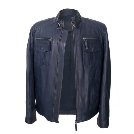Double Patch Pocket Leather Jacket // Navy