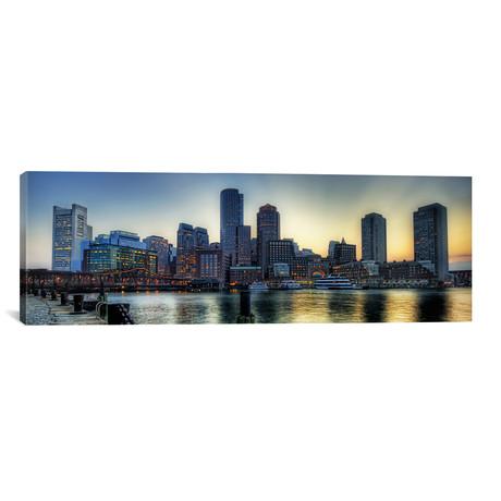 "Boston Panoramic Skyline Cityscape // Unknown Artist (60""W x 20""H x 0.75""D)"