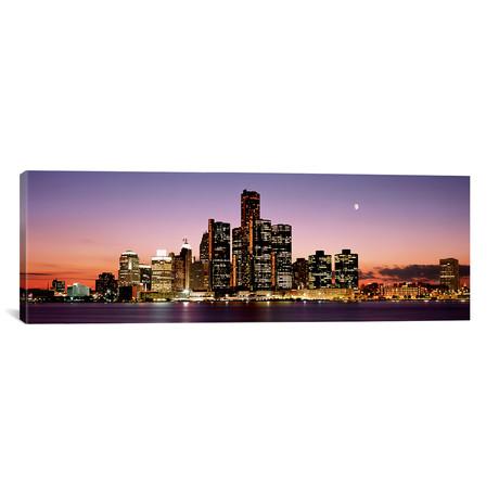 "Night Skyline Detroit MI // Panoramic Images (60""W x 20""H x 0.75""D)"