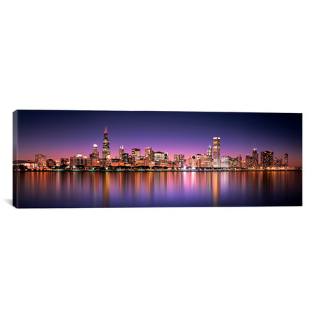"Reflection of skyscrapers in a lake, Lake Michigan, Digital Composite, Chicago, Cook County, Illinois, USA // Panoramic Images (36""W x 12""H x 0.75""D)"
