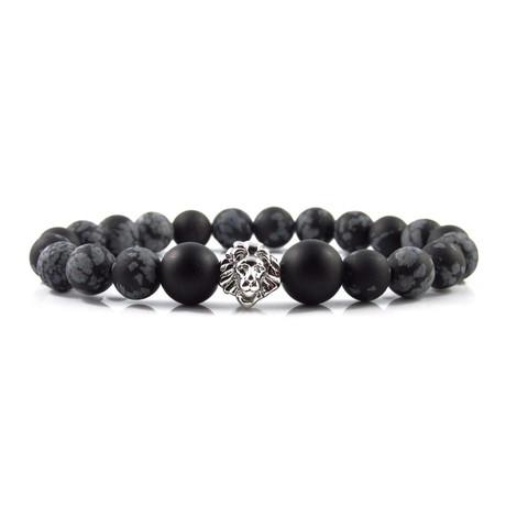 White Gold Leo Bracelet // Snowflake Obsidian + Onyx