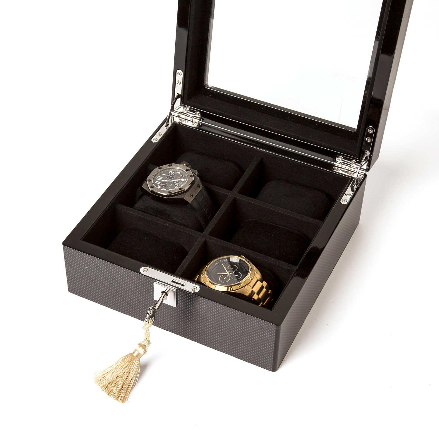 Watch box 6 slots carbon fiber clearance home for Home decor items on sale