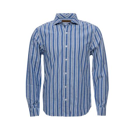 Earnest Spread Collar Shirt // Blue Multi Stripe (XS)