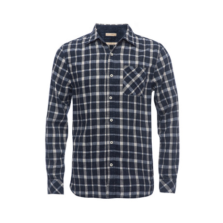 Truman Square Pocket Shirt // Dark Navy Plaid (XS)
