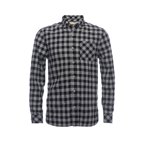 Truman Button Collar Shirt // Black + Grey Check (XS)