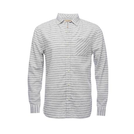 Truman Button Collar Shirt // Light Grey Stripe (XS)