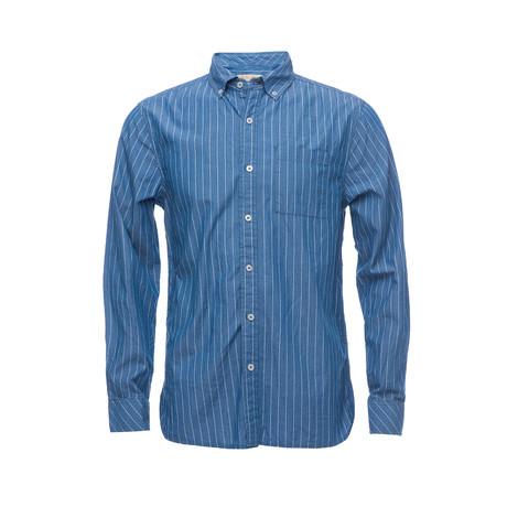 Truman Button Collar Shirt // Blue Pin Stripe