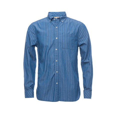 Truman Button Collar Shirt // Blue Pin Stripe (XS)