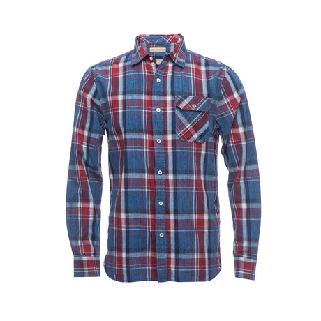 Truman Single Flap Pocket Shirt // Blue + Red Plaid (XS)