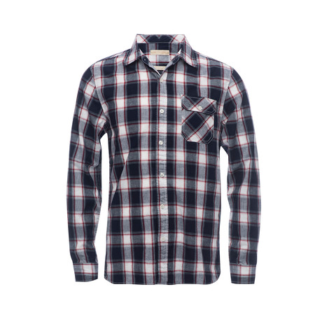 Truman Single Flap Pocket Shirt // Navy + Red Plaid (XS)