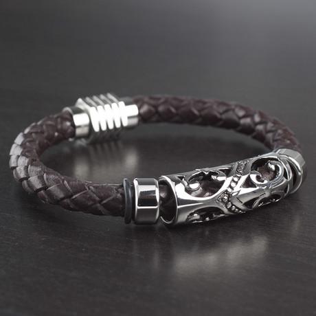 Fleur-de-Lis Braided Leather Bracelet // Brown