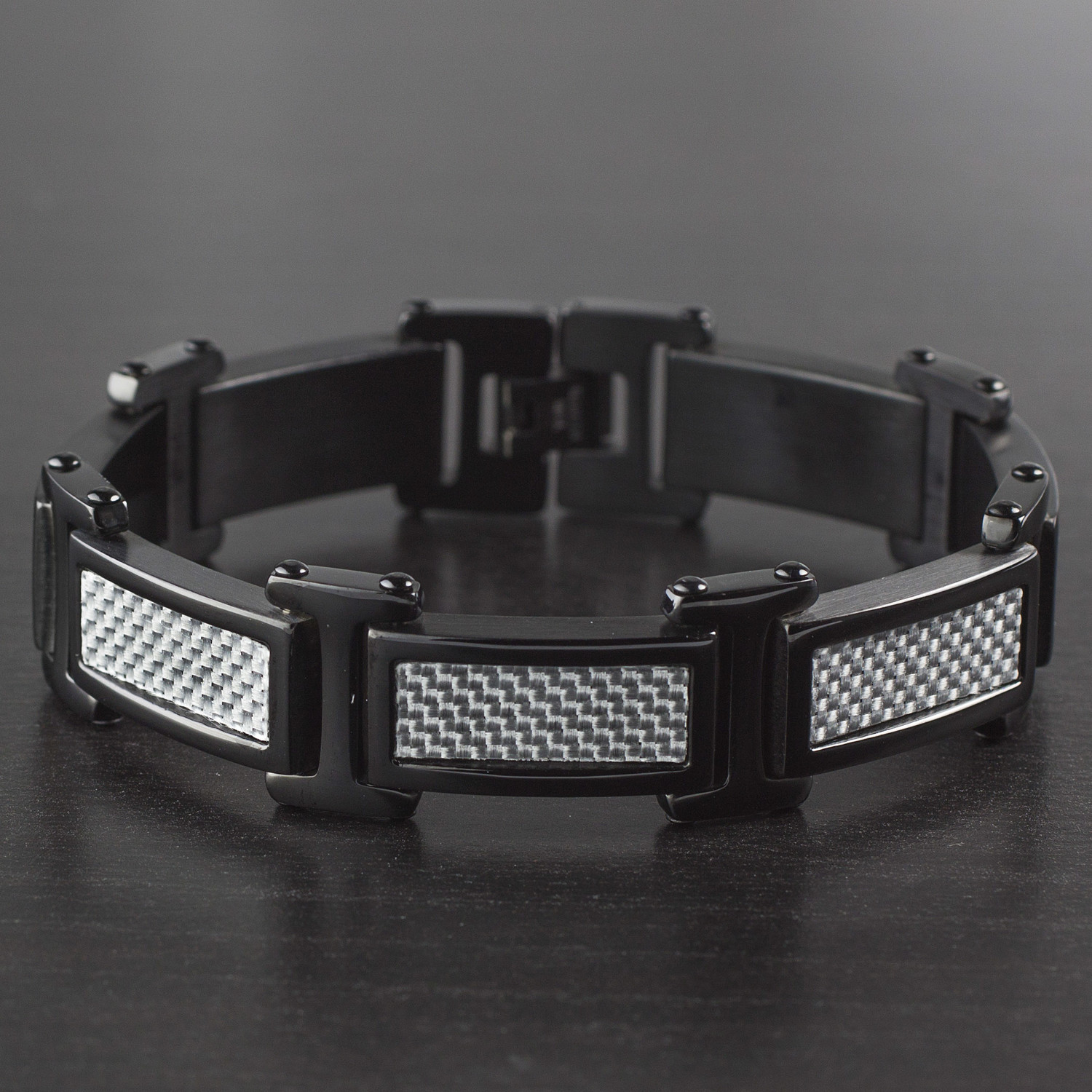 Carbon Fiber Diamontrigue Jewelry: Polished Carbon Fiber Inlay Link Bracelet // Black + Gray