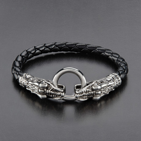 Dragon Clasp Braided Leather Bracelet // Black