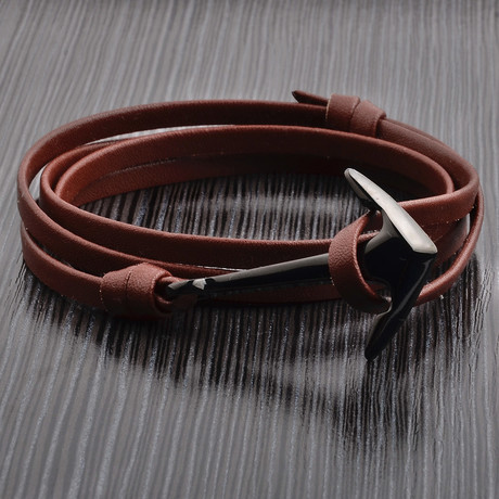 Anchor Leather Wrap Bracelet // Brown