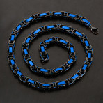 Byzantine Chain Necklace // Black + Blue