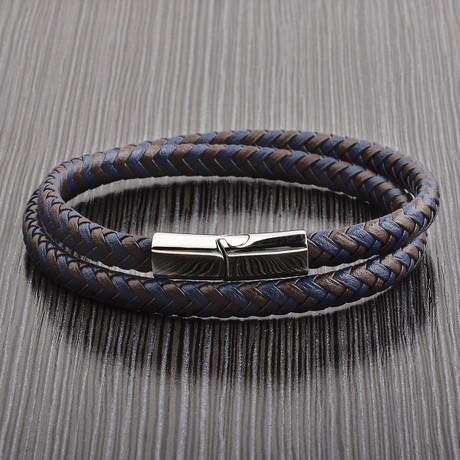 Braided Leather Bracelet // Navy + Brown