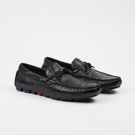 Drake Ostrich Tie Moccasin // Black (US: 7)