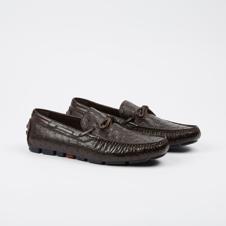 Drake Ostrich Tie Moccasin // Dark Brown (US: 7)