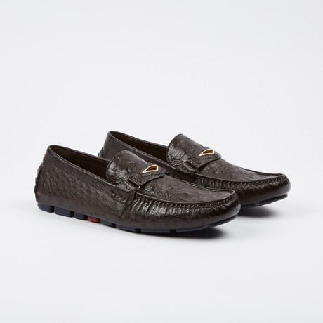 Drake Ostrich Loafer // Dark Brown (US: 7)