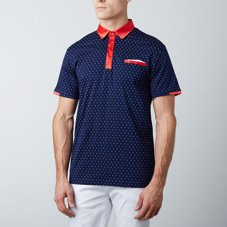 Short-Sleeve Polo // Navy + Red