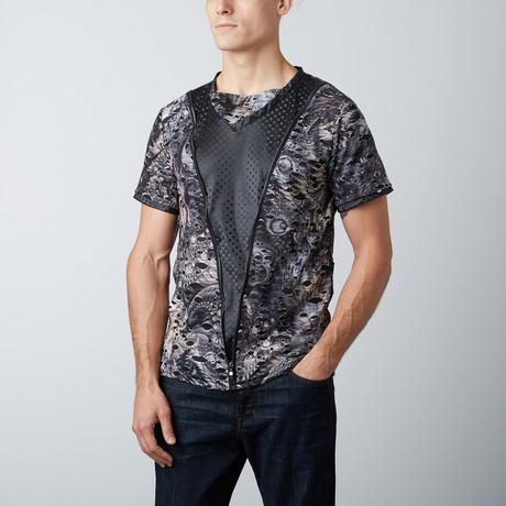 Short-Sleeve Sport Top // Black + Multi