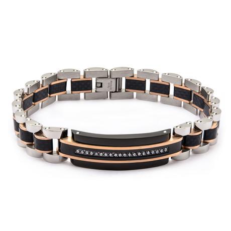 Steel Tri-Tone ID Bracelet // Silver + Rose Gold + Black